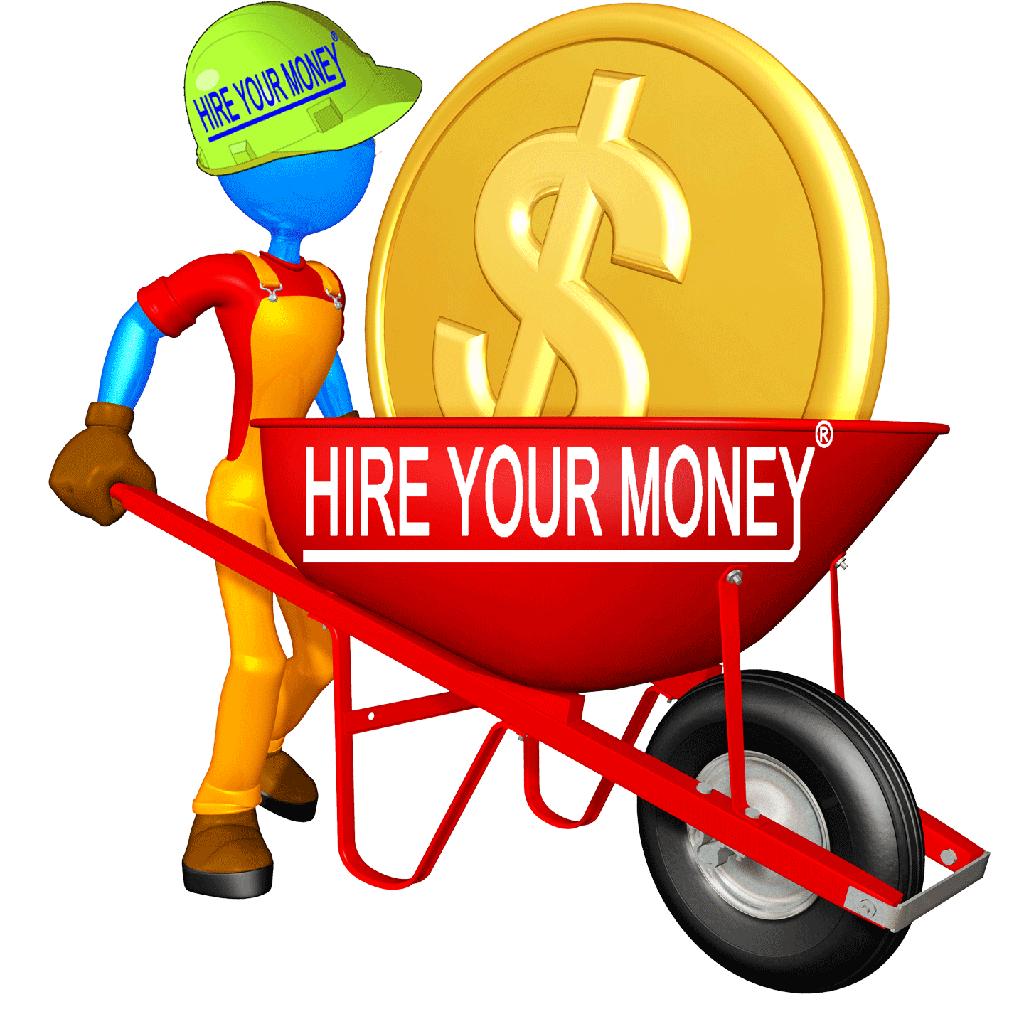 Money Knowledge Builder™ man with money in a wheelbarrow