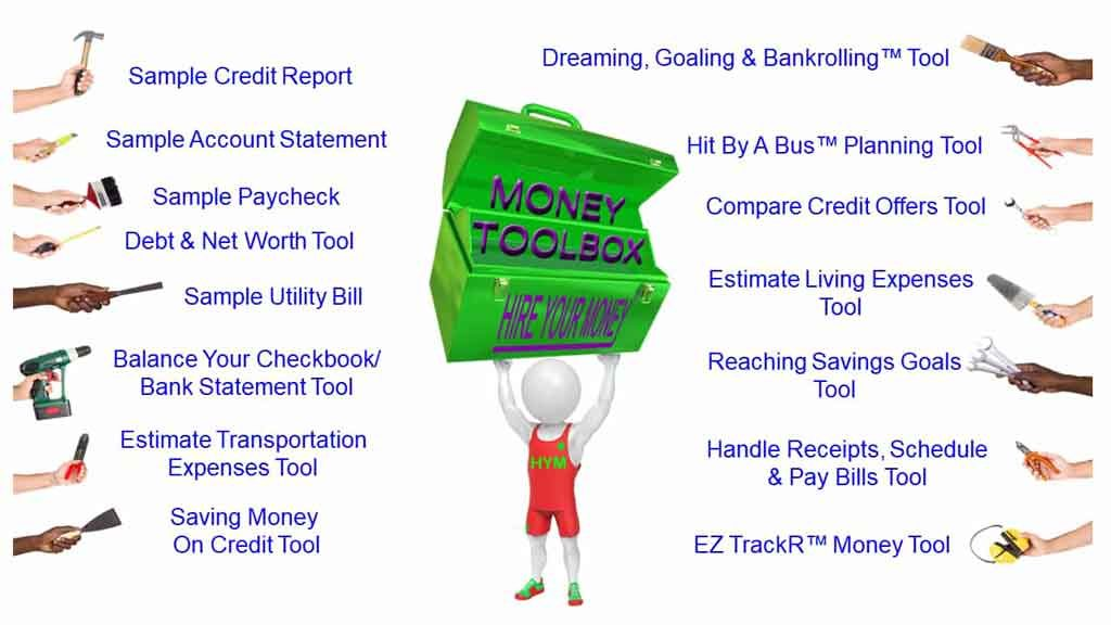 Money Toolbox™ tools included in the Hire Your Money™ course