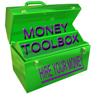 Green toolbox with words Money Toolbox