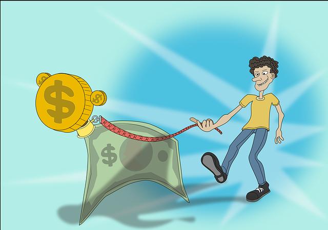 Budget - man walking a dog made of money